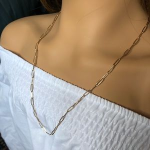 NEW 14k gold plated paperclip chain neckla…